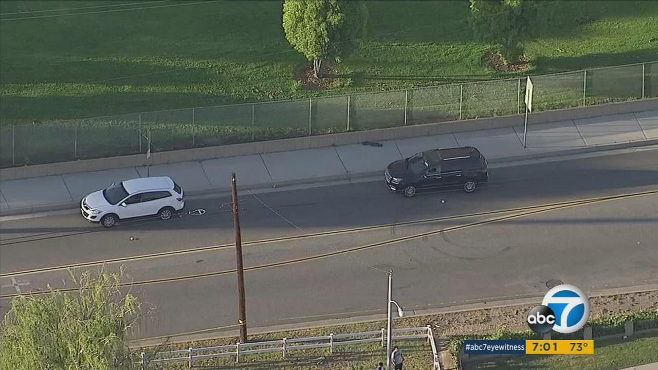 One of several scenes involved in random shootings in the La Mirada area is shown in AIR7 HD footage.