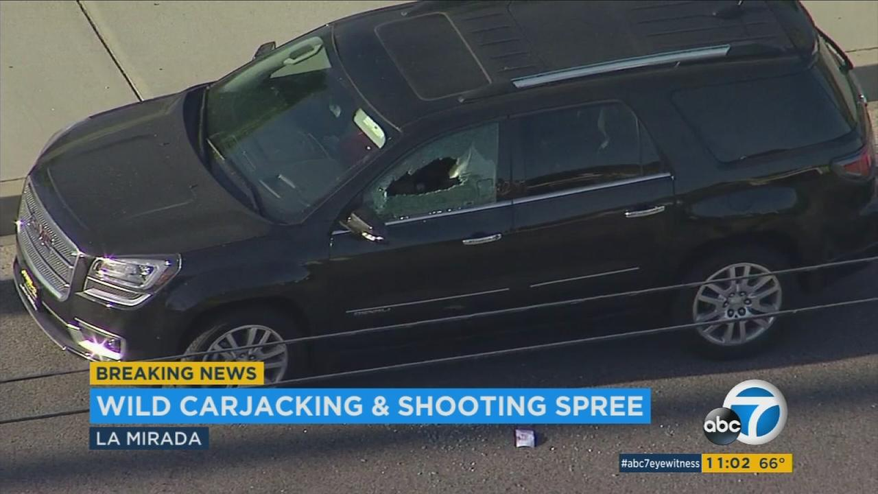 A window is shot out in a car after two suspects went on a random shooting spree in the La Mirada area on Saturday, April 29, 2017.