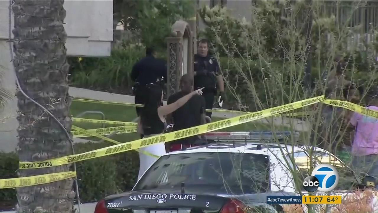 Eight people were injured, one fatally, and a suspect was killed at an apartment complex in San Diego Sunday night, officials said.