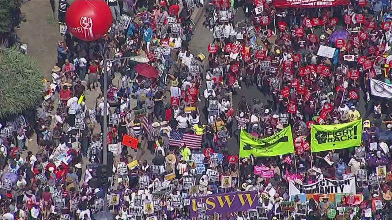 Thousands pack streets of Los Angeles for May Day marches