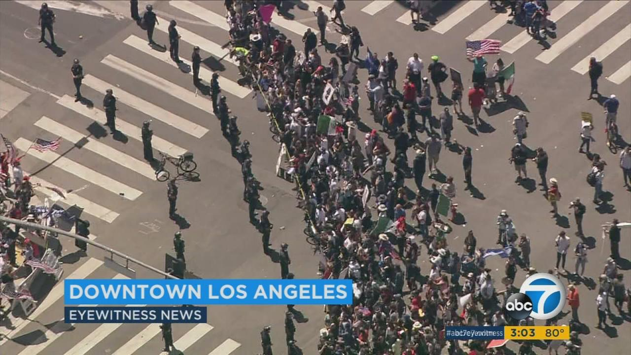 A pro-President Trump rally turned tense during a May Day march in downtown Los Angeles on Monday, March 1, 2017.
