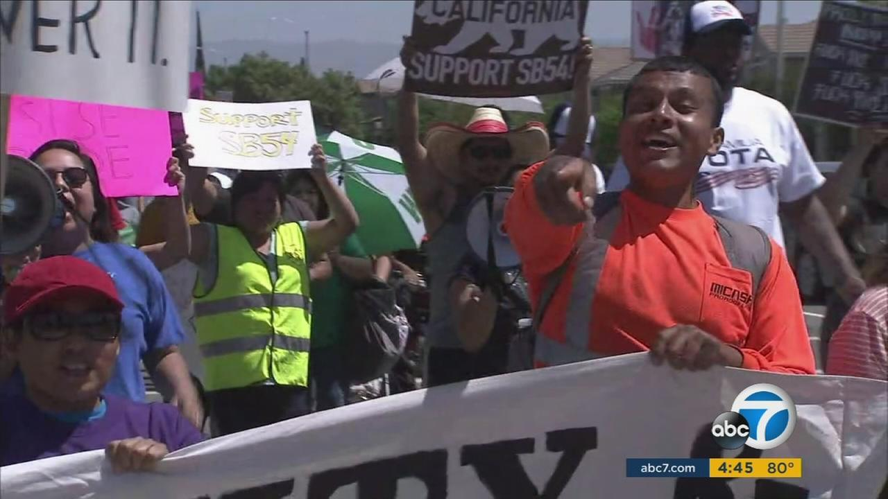 May Day marchers in Riverside condemn Trump