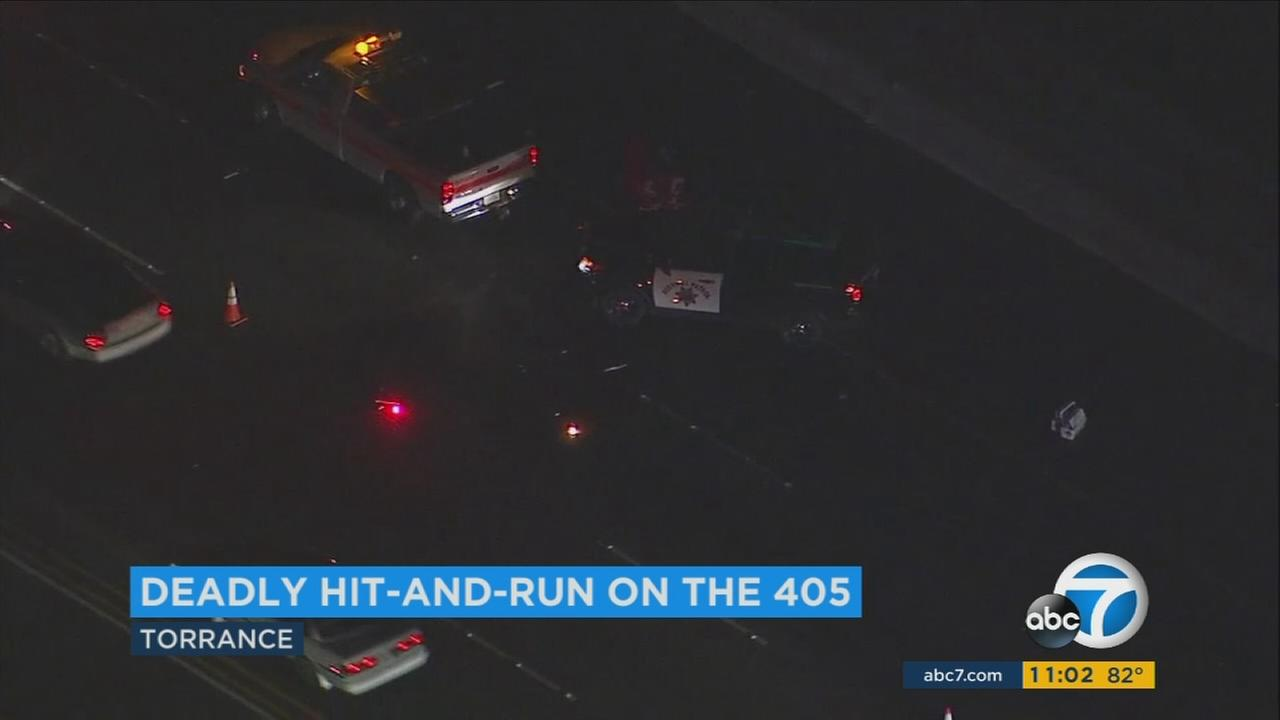 A hit-and-run driver killed a man who was changing a tire on the 405 Freeway in Torrance on Monday, May 1, 2017, according to California Highway Patrol.