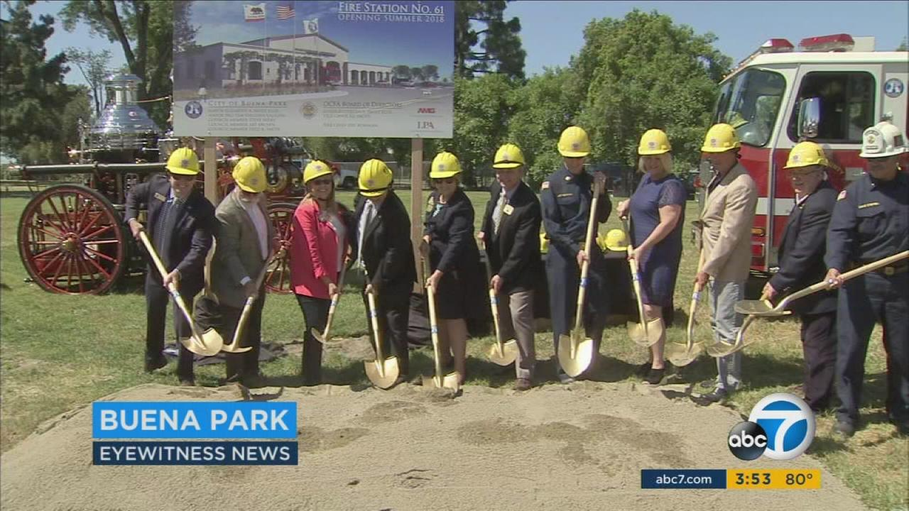 A groundbreaking ceremony was held in Buena Park for a new 18,000-square-foot facility that will also house a fire station on Tuesday, May 2, 2017.