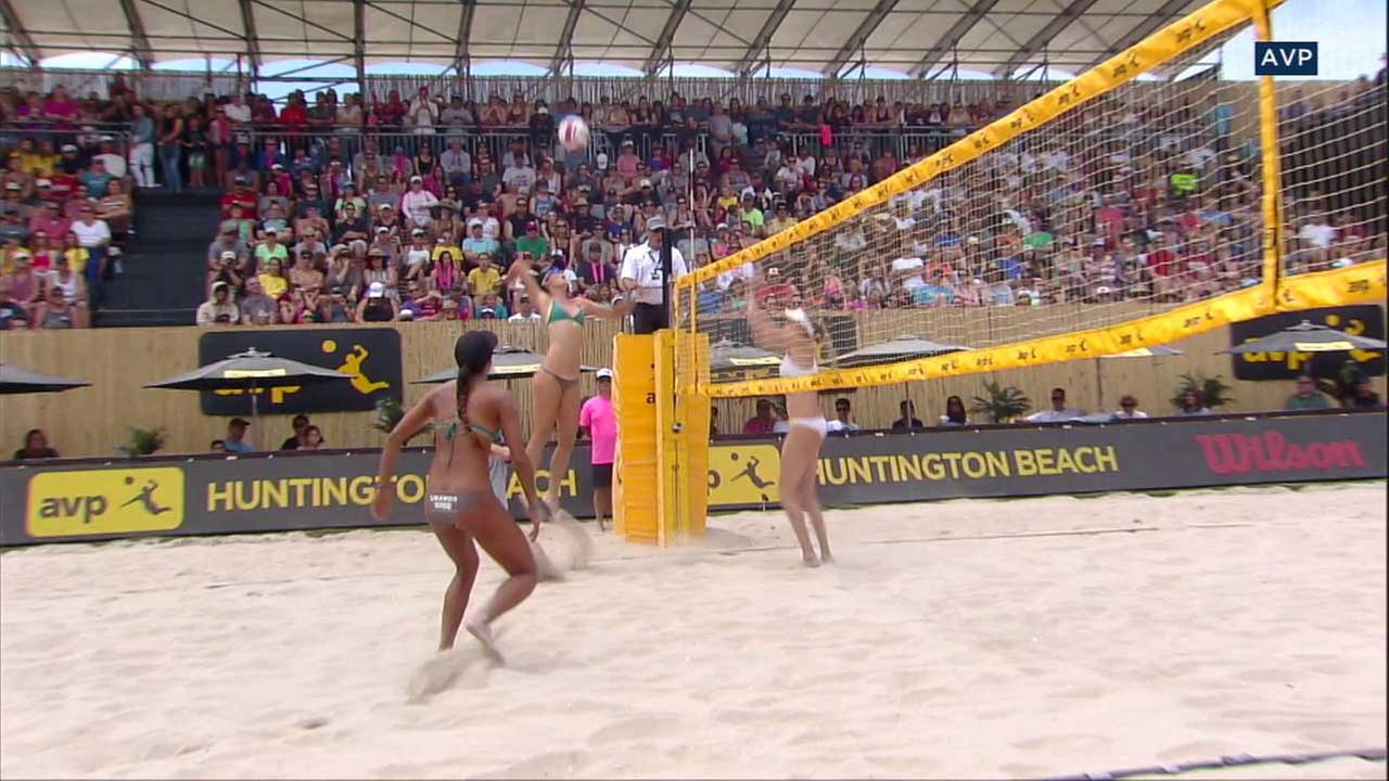 Volleyball players are seen in footage from the Association of Volleyball Professionals.