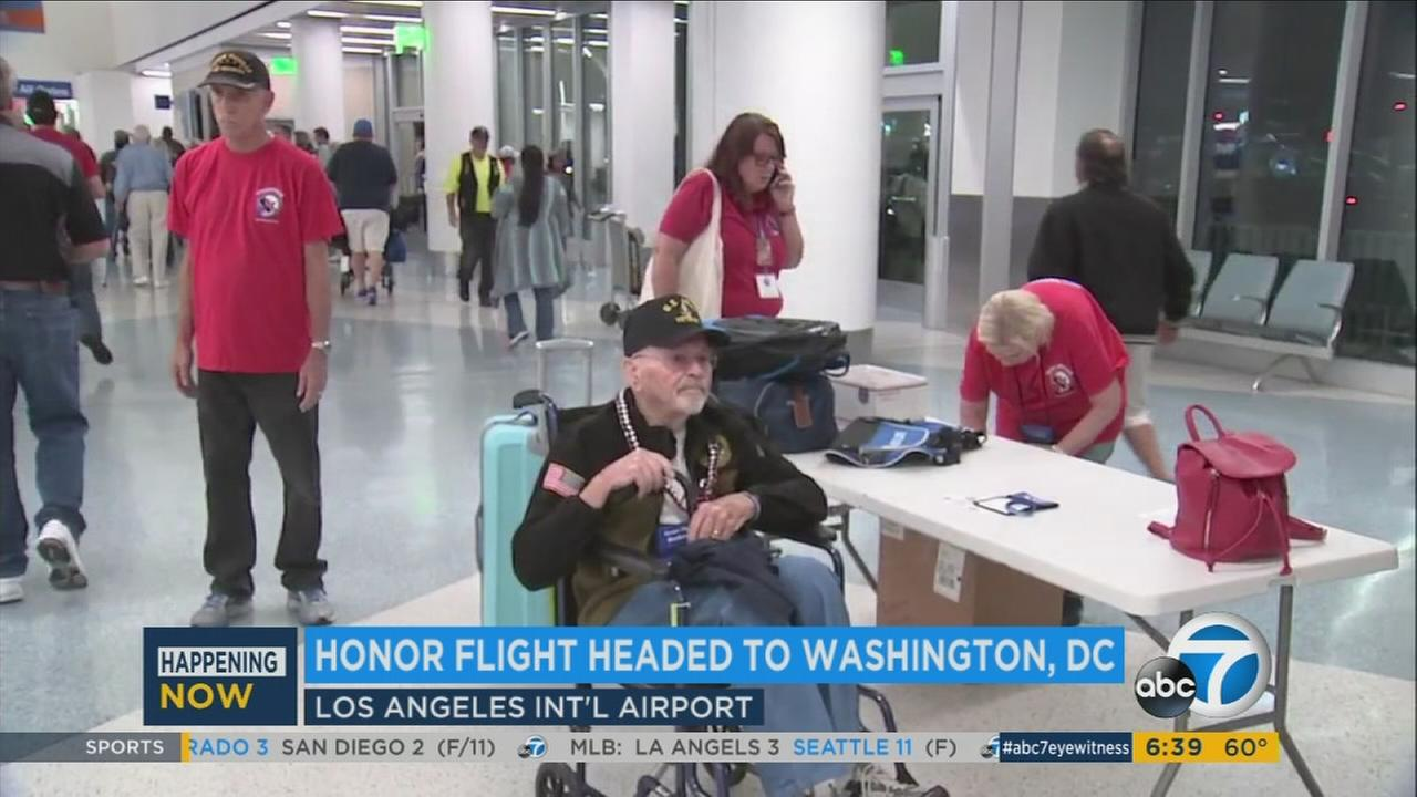 36 military veterans take Honor Flight from LAX to DC