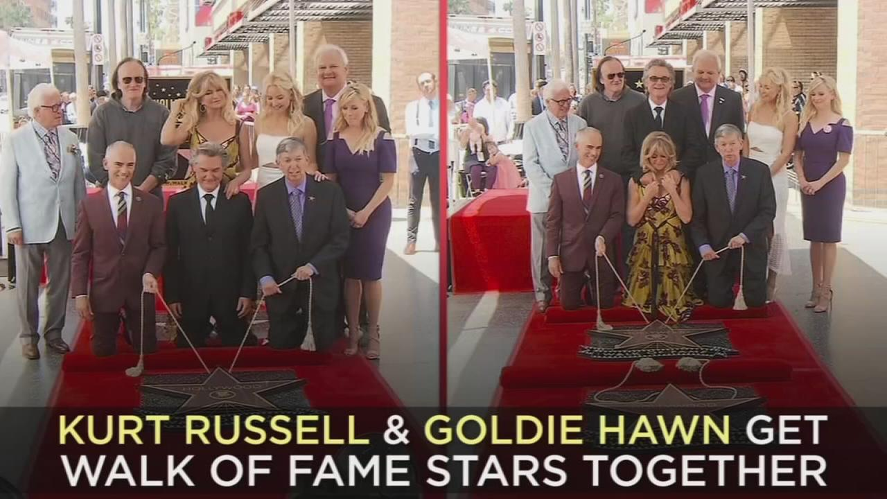 Goldie Hawn and Kurt Russell at the ceremony honoring them each with a star on the Hollywood Walk of Fame on Thursday, May 4, 2017, in Los Angeles.