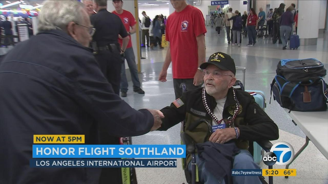 Dozens of World War II veterans and their family members on Friday morning departed from Los Angeles International Airport on an Honor Flight to Washington D.C.