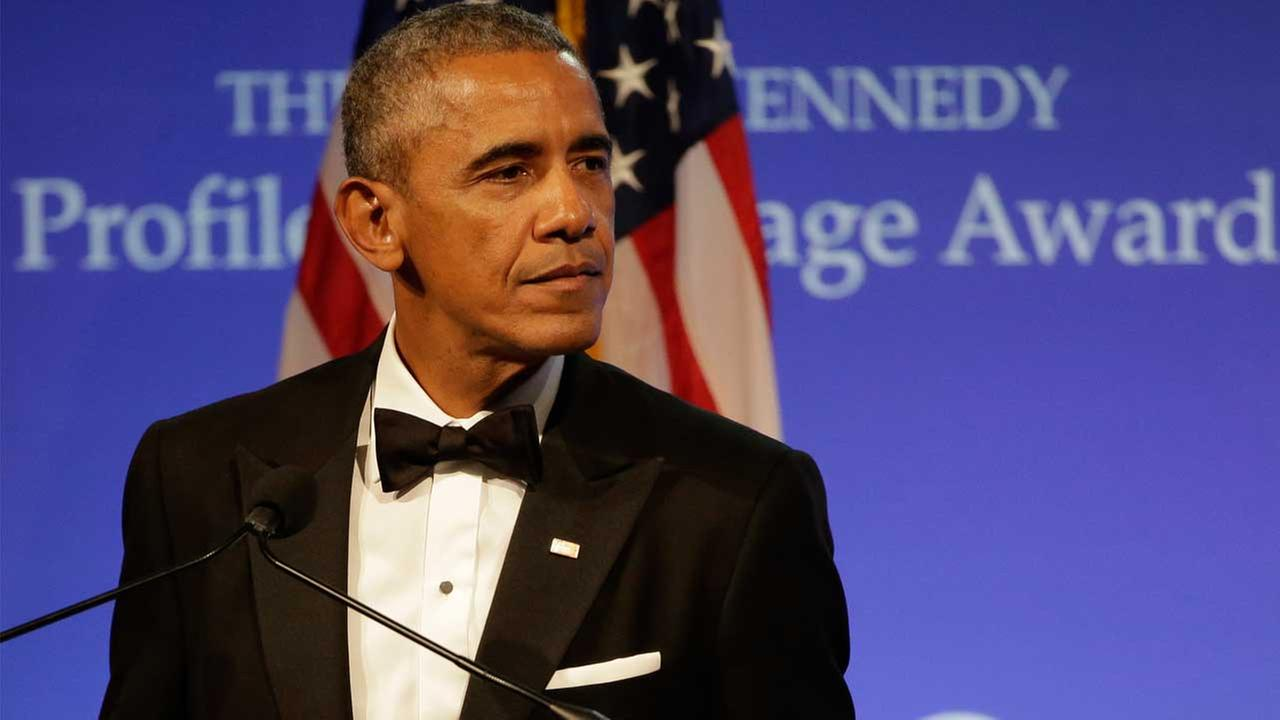 Former President Barack Obama speaks after being presented with the 2017 Profile in Courage award during ceremonies at the John F. Kennedy Presidential Library and Museum.