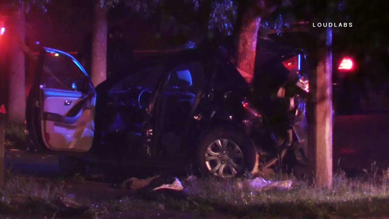 Car wraps around tree in violent Hemet crash; multiple injuries reported