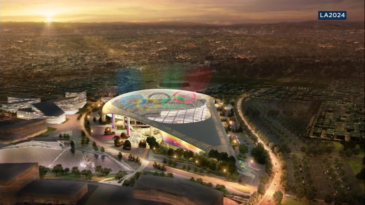 A rendering shows the new stadium being constructed in Inglewood being used during the 2024 Olympic Games.