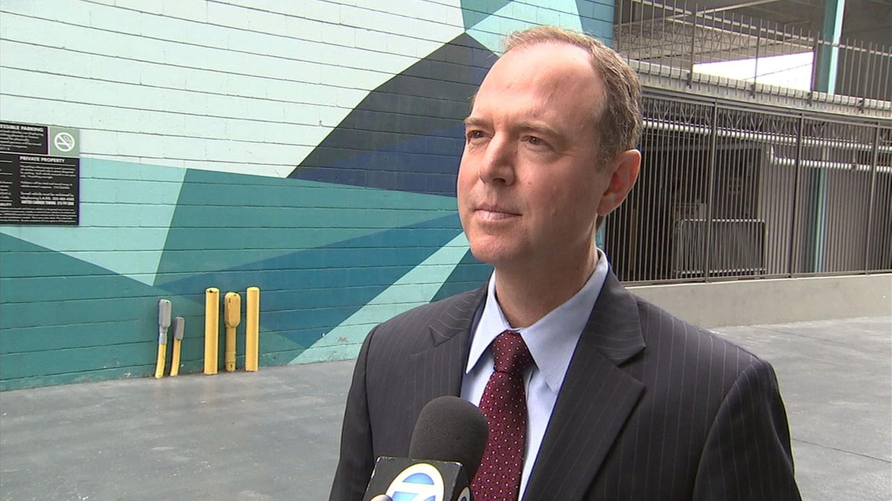 Congressman Adam Schiff is shown during an interview on ABC7.