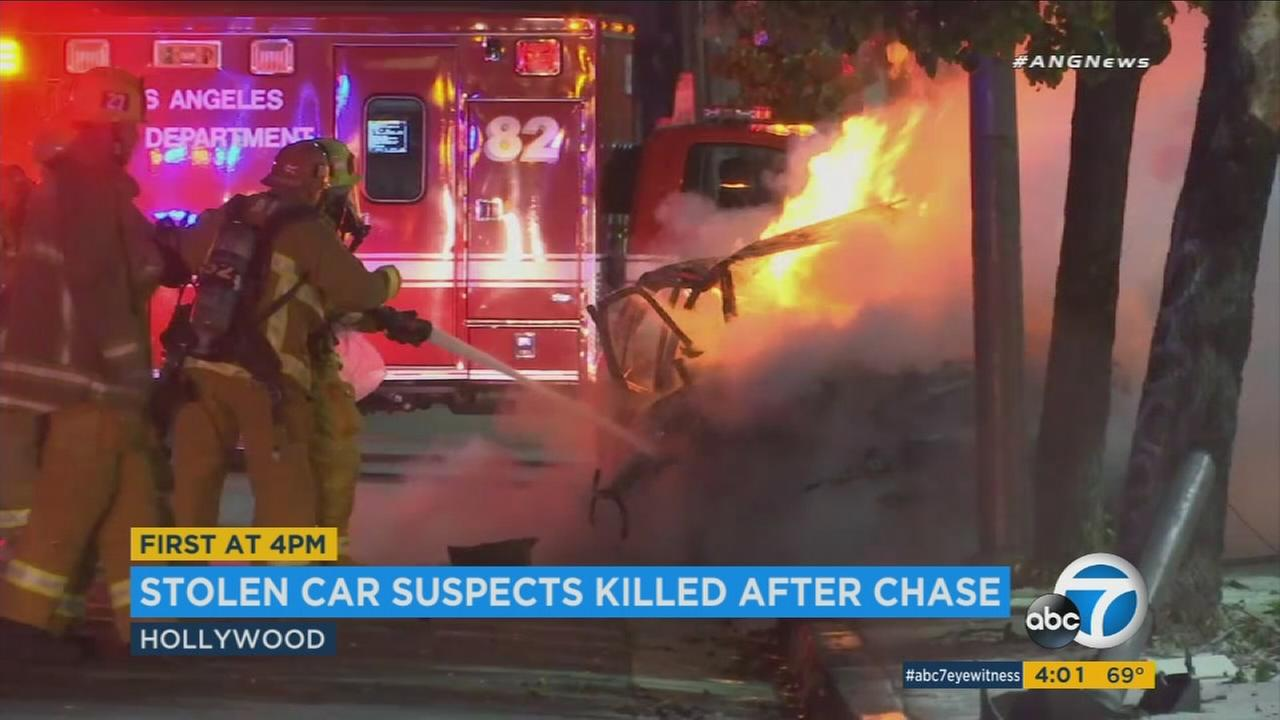 A wild police chase early Sunday ended in a fiery crash in Hollywood, killing the two occupants in the car.