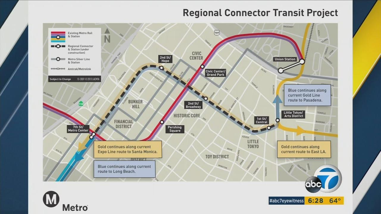 Metros Regional Connector Transit Project  links the Metro Gold Line in Little Tokyo to the 7th Street/Metro Center Station, creating a more continuous trip for transit riders.