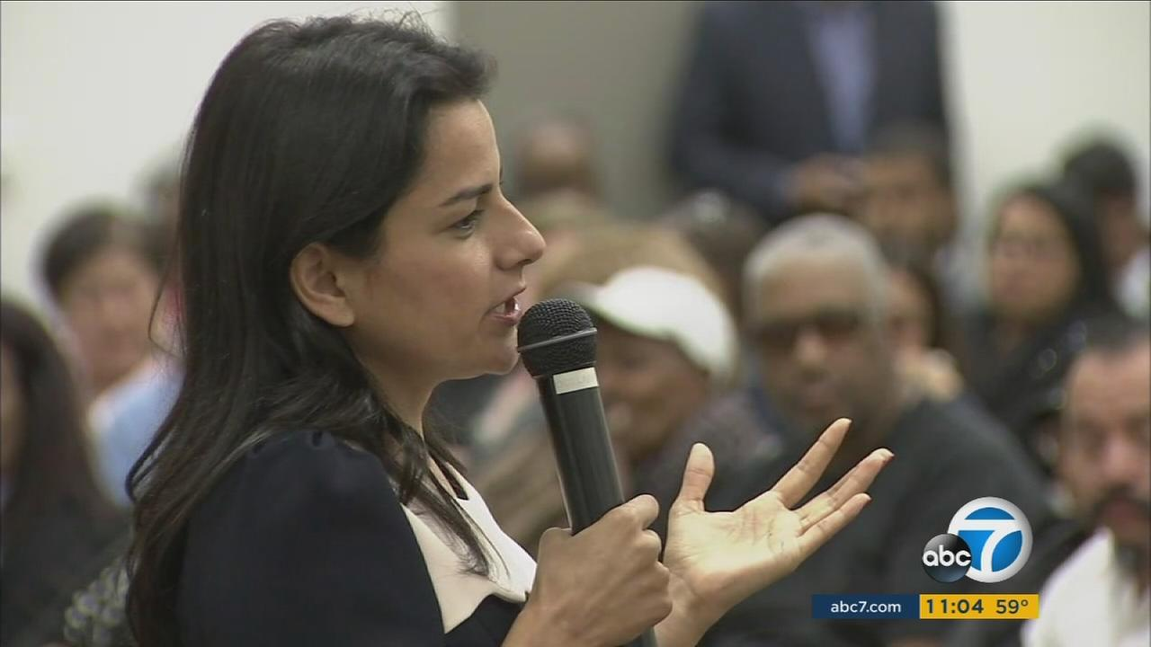 Rep. Nanette Diaz Barragan speaks at a town hall meeting in Compton on Monday, May 15, 2017.
