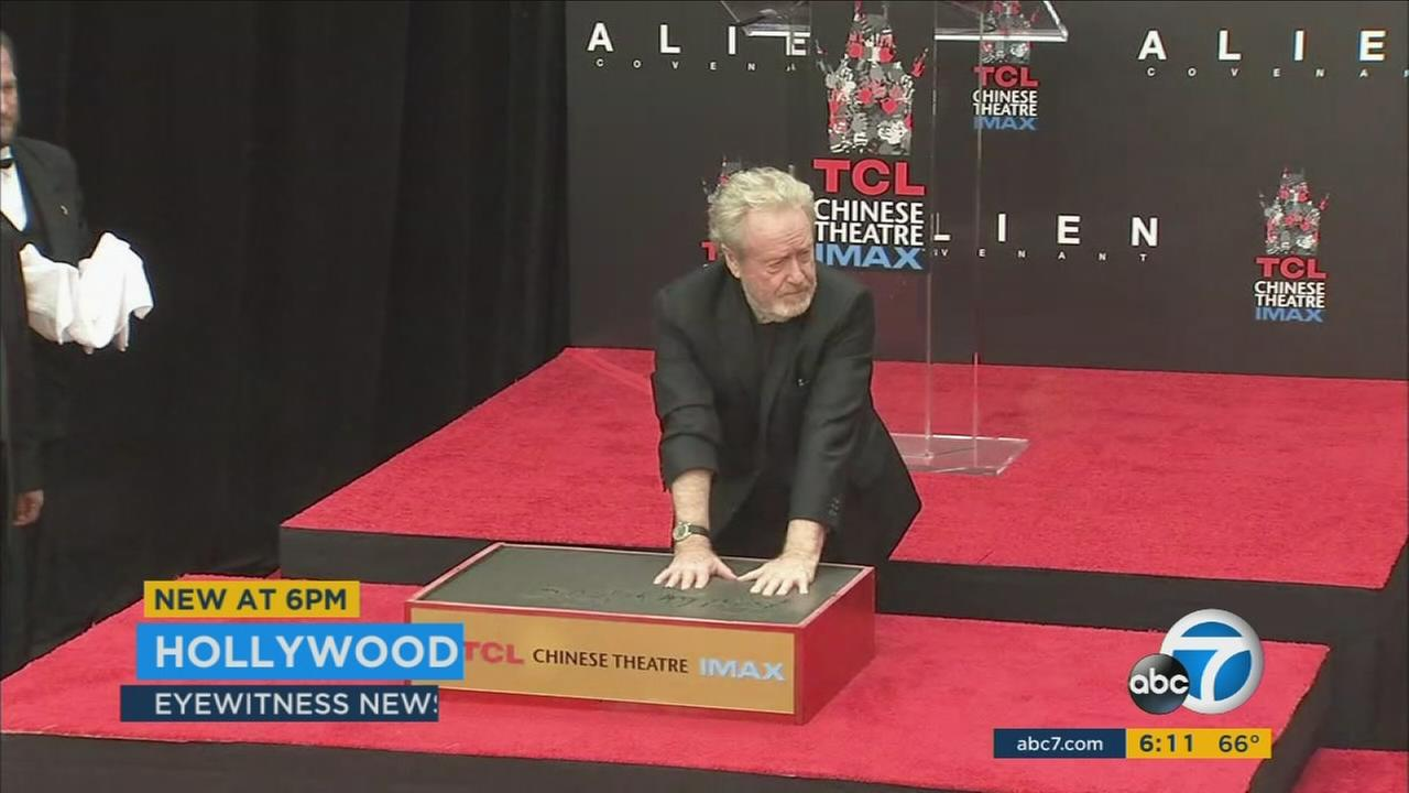 Director Ridley Scott had his hand and foot prints encased in cement at the TCL Chinese Theatre on Wednesday, May 17, 2017.