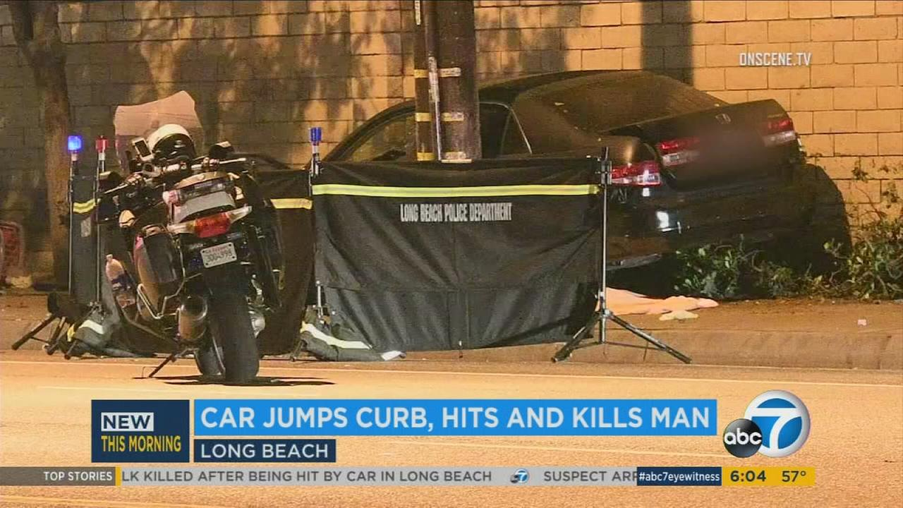 A man was fatally struck by a car that jumped a curb Wednesday, May 17, 2017, in Long Beach.