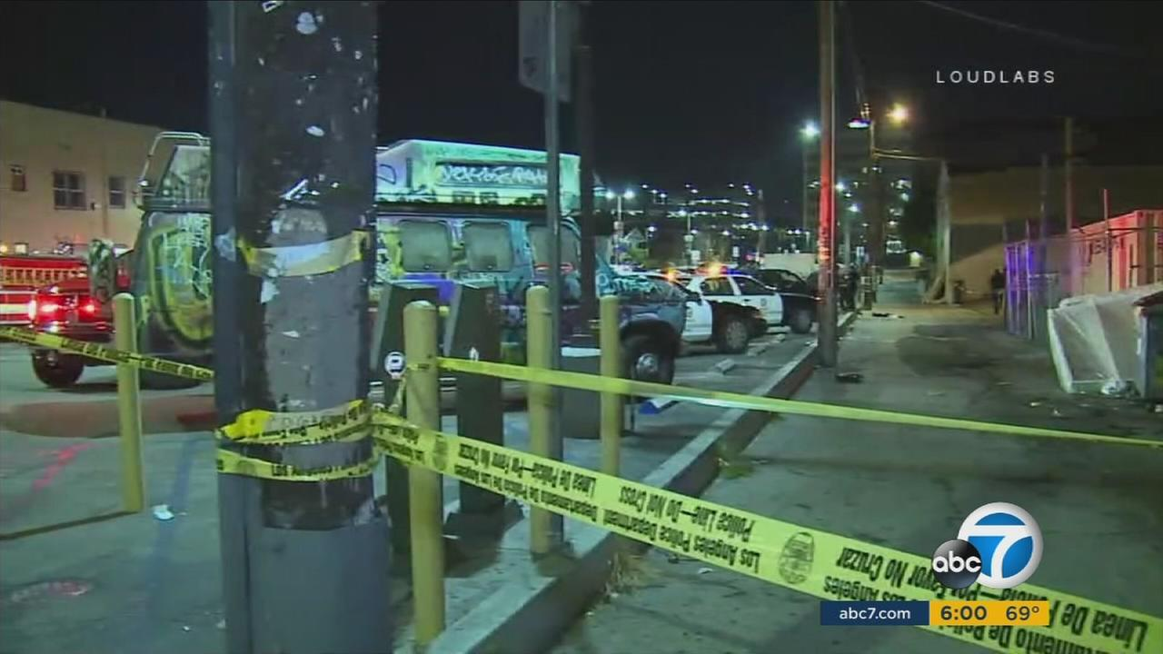 A photo shows the scene of a brutal stabbing at an Echo Park taco truck on May 2, 2017.