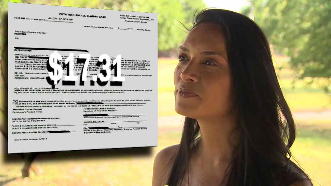 A woman sued by a Texas man for the price of a movie ticket is paying him for the ticket in the hopes hell leave her alone.
