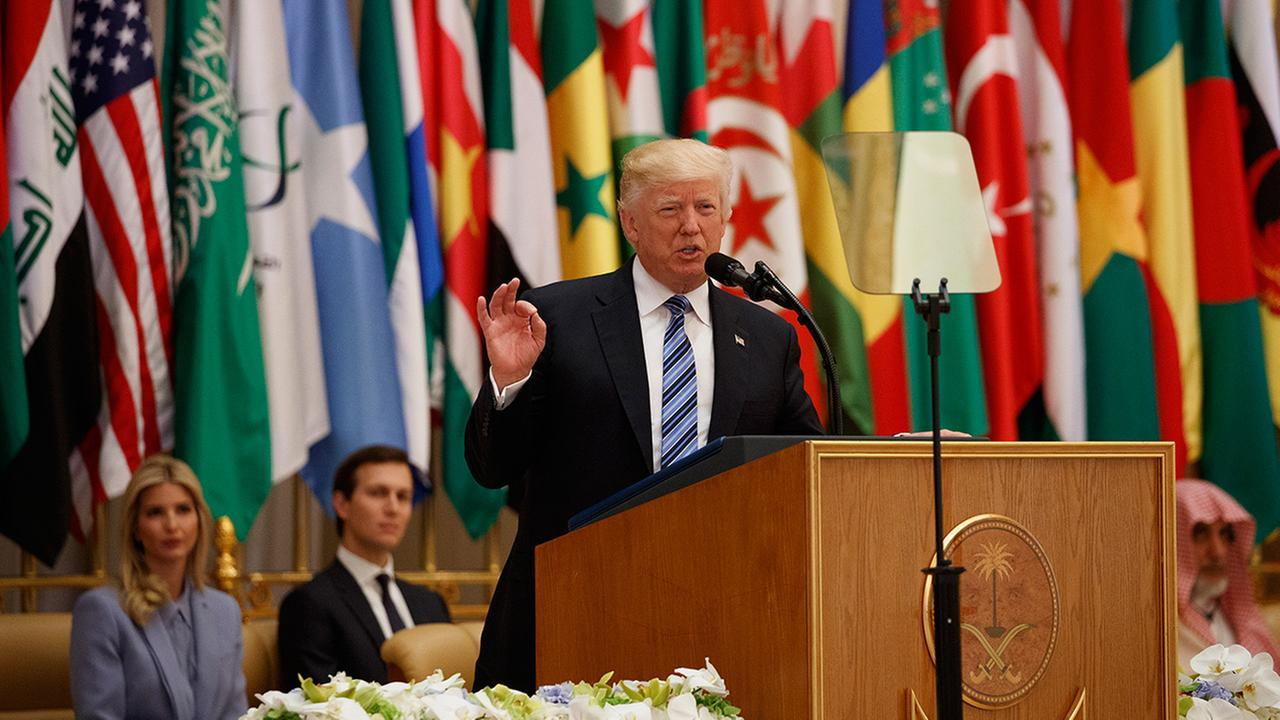 President Donald Trump delivers a speech to the Arab Islamic American Summit, at the King Abdulaziz Conference Center, Sunday, May 21, 2017, in Riyadh, Saudi Arabia.