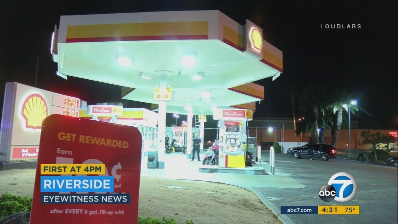 A 31-year-old man from Orange, believed to be a member of the Hells Angels motorcycle gang, was killed in a gas station shooting, Riverside police said Monday.