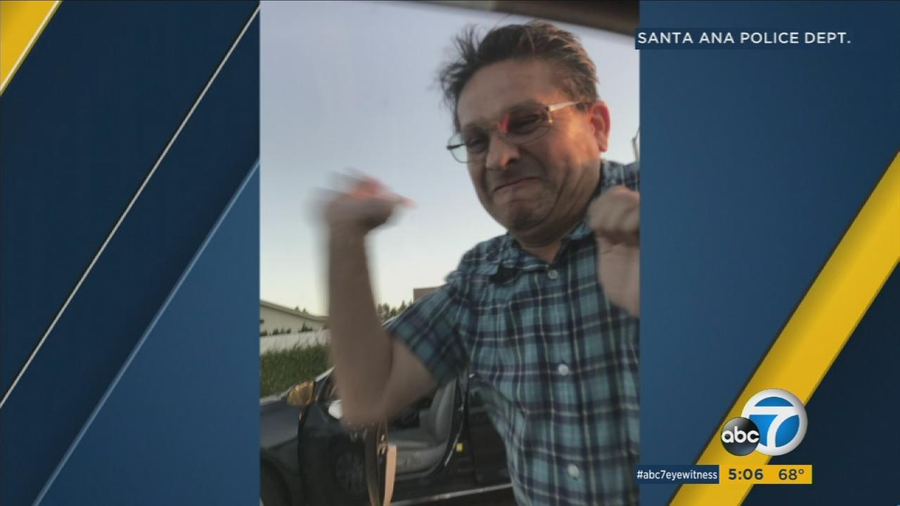 A man who went on a rampage at a Santa Ana gas station was photographed in a road-rage incident a short time later, police say.