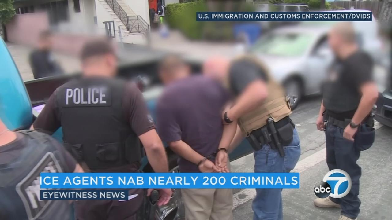 The U.S. Immigration and Customs Enforcement arrested 188 people across the Southland -- with the majority in Los Angeles County -- during a five-day operation, officials said.