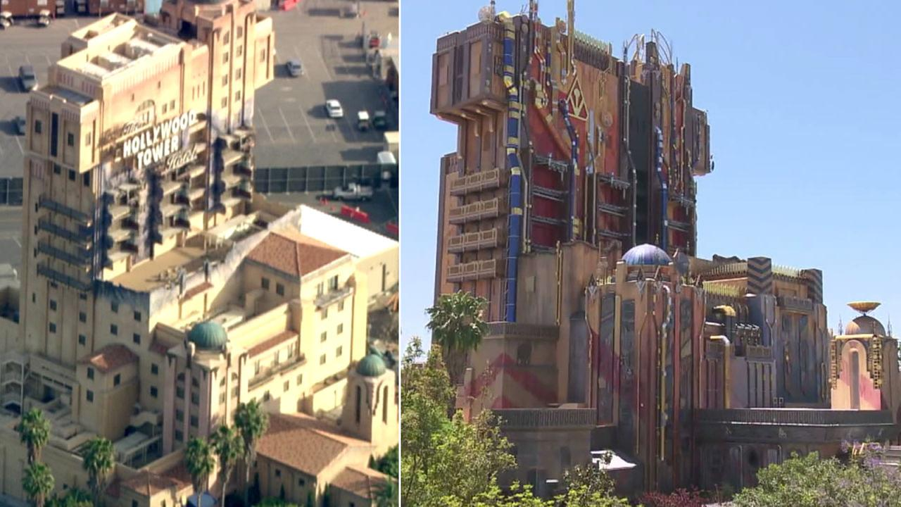 Tower of Terror is shown alongside the new Guardians of the Galaxy ride that replaced it at Disneys California Adventure.