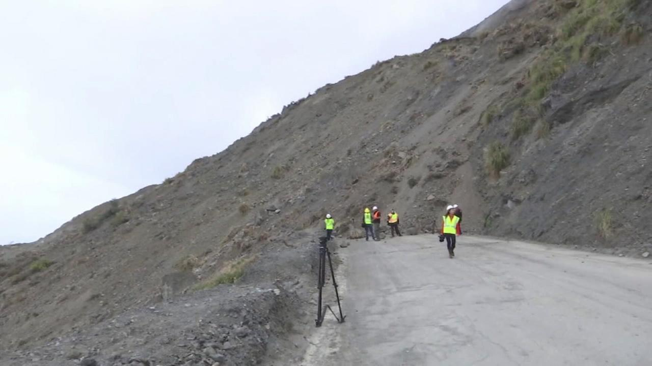 A landslide covering a stretch of Highway 1 in Big Sur.