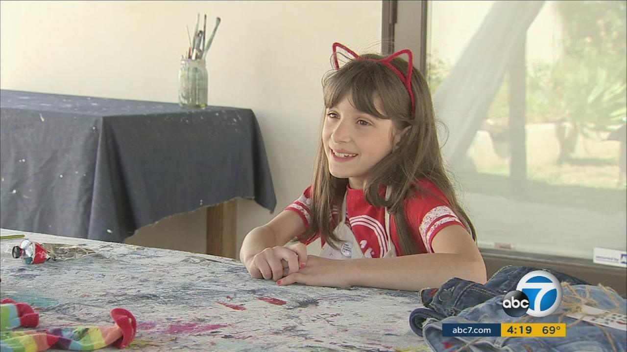 Nine-year-old Sasha Bogosian created her own designer jeans that look good and do good. Its called The Sasha Project LA.