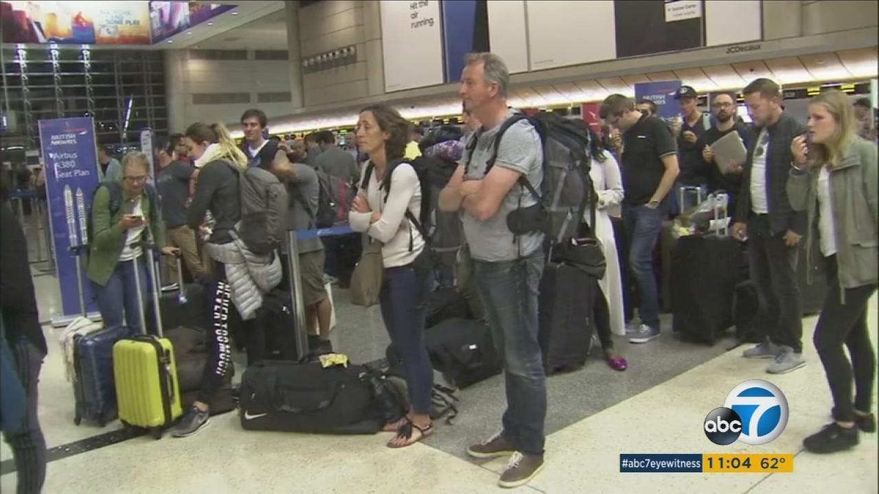 Passengers are stranded at LAX on Saturday, May 27, 2017, after an IT failure caused British Airways to cancel flights to Londons two biggest airports.
