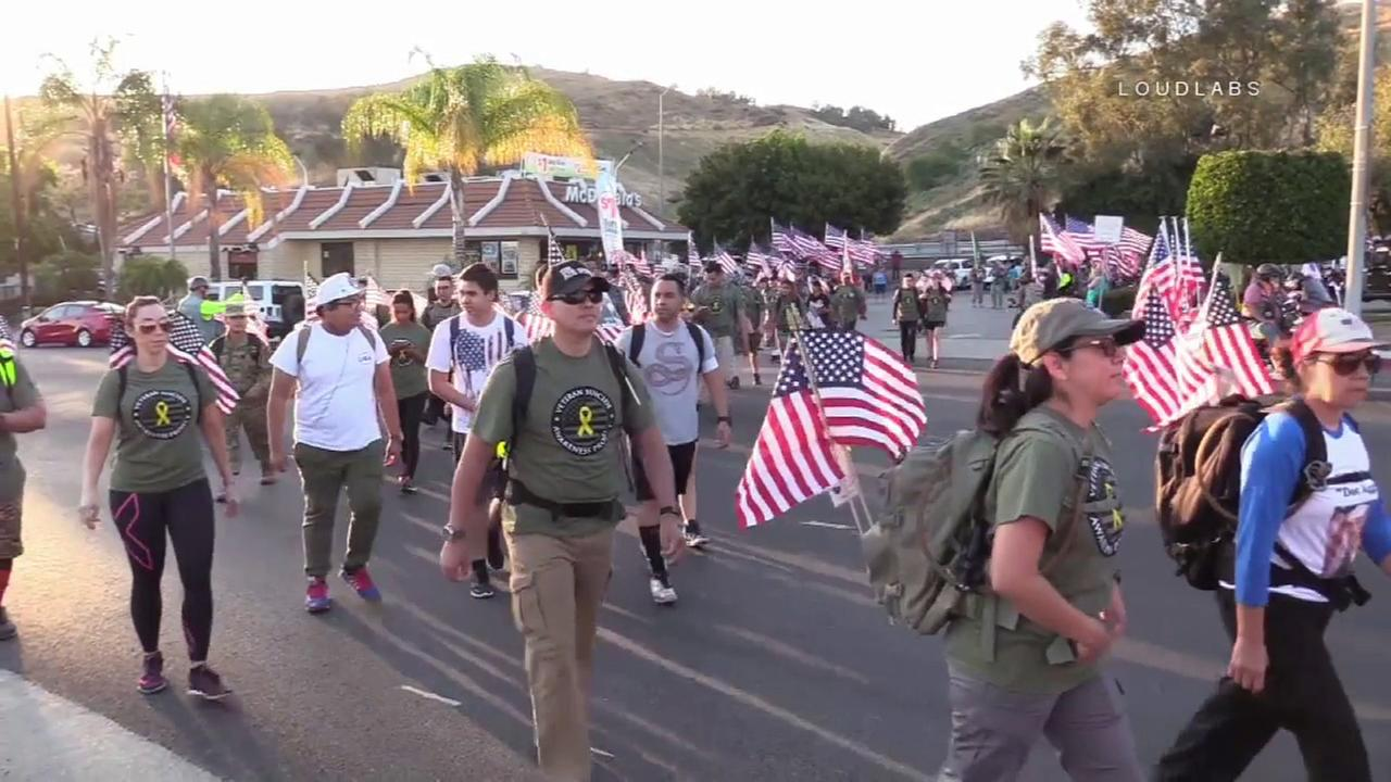 Veterans and patriots marching 40 miles on Memorial Day, May 29, 2017, to raise awareness about suicide among those who have served in the military.