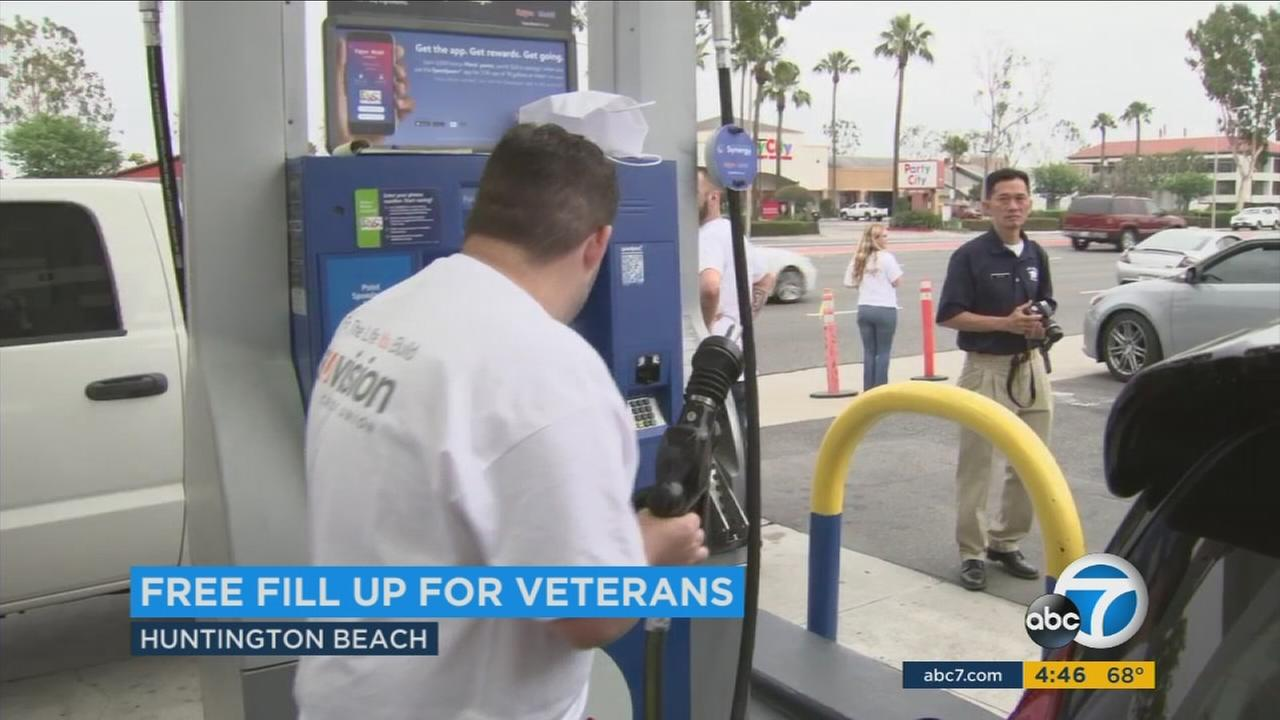 It may be the day Americas fallen heroes are honored, but those who served in the military got a Memorial Day gift in Huntington Beach -- a free tank of gas.