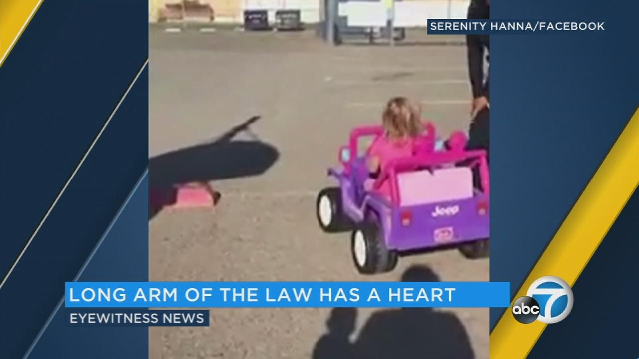 3-year-old Davy took her pink Barbie jeep out for a ride and faced confrontation with a Huntington Beach police officer.
