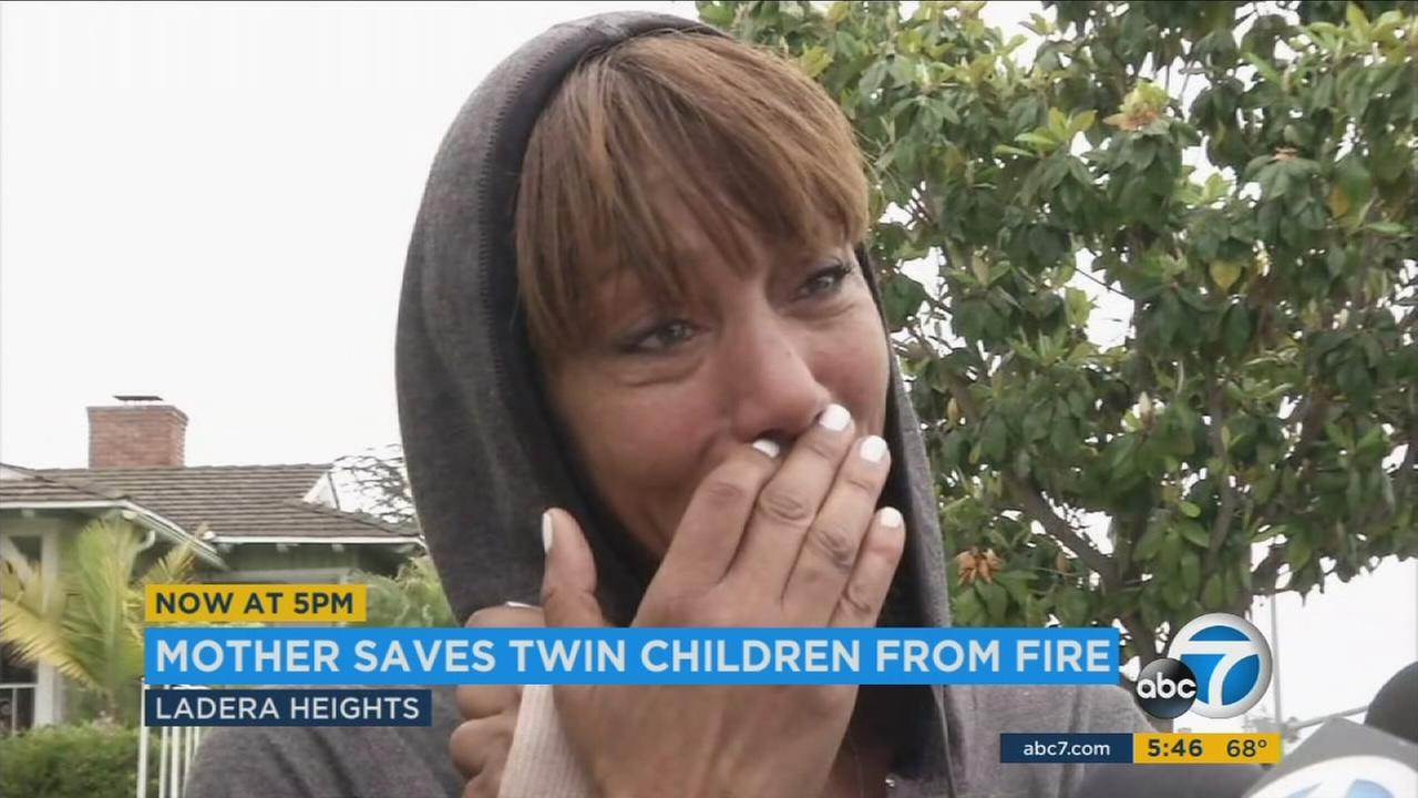 A Ladera Heights mother sprang into action after her apartment caught fire by breaking a window with her bare hands to get her children out of harms way.