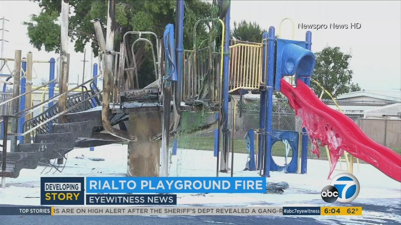 A Rialto playground that caught fire Tuesday, May 20, 2017.