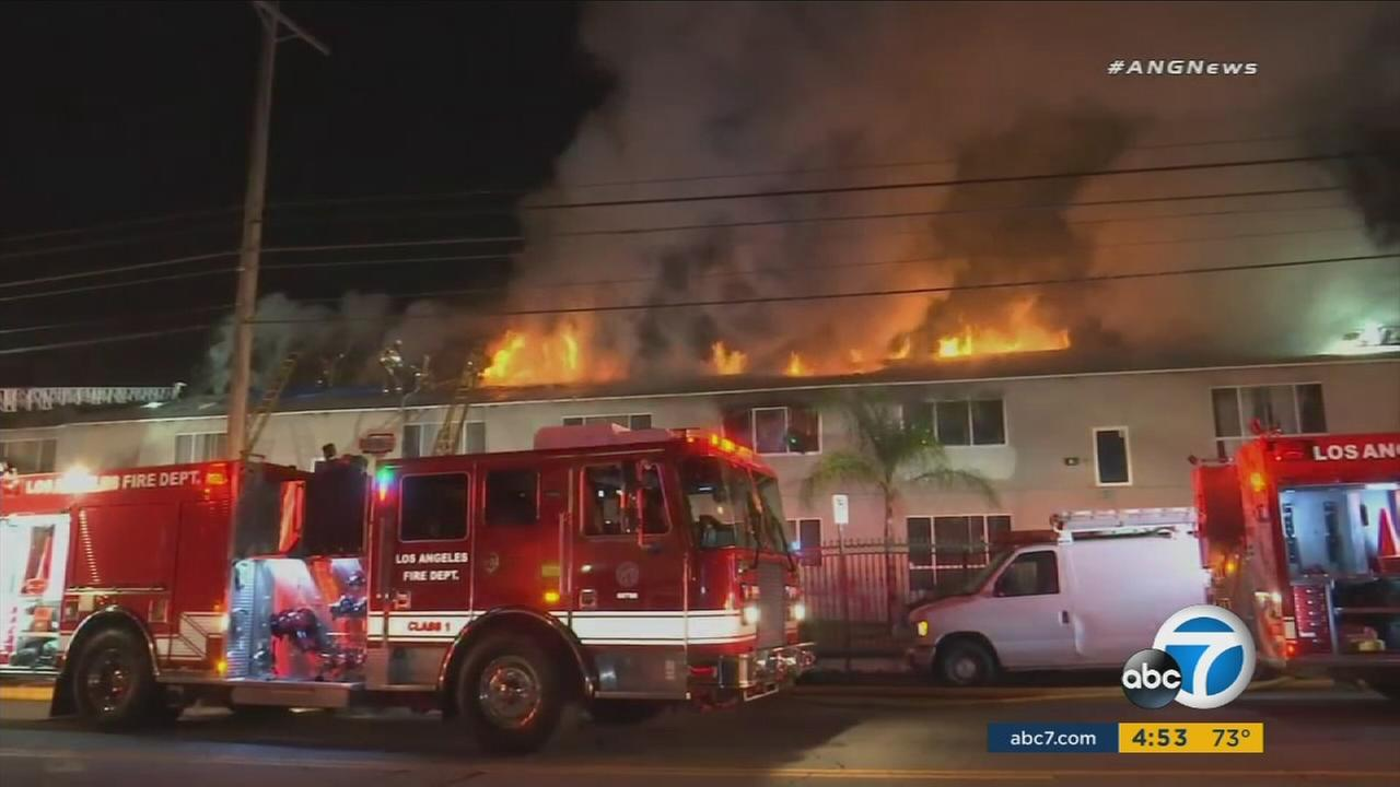 Firefighters battled an apartment fire in North Hollywood.