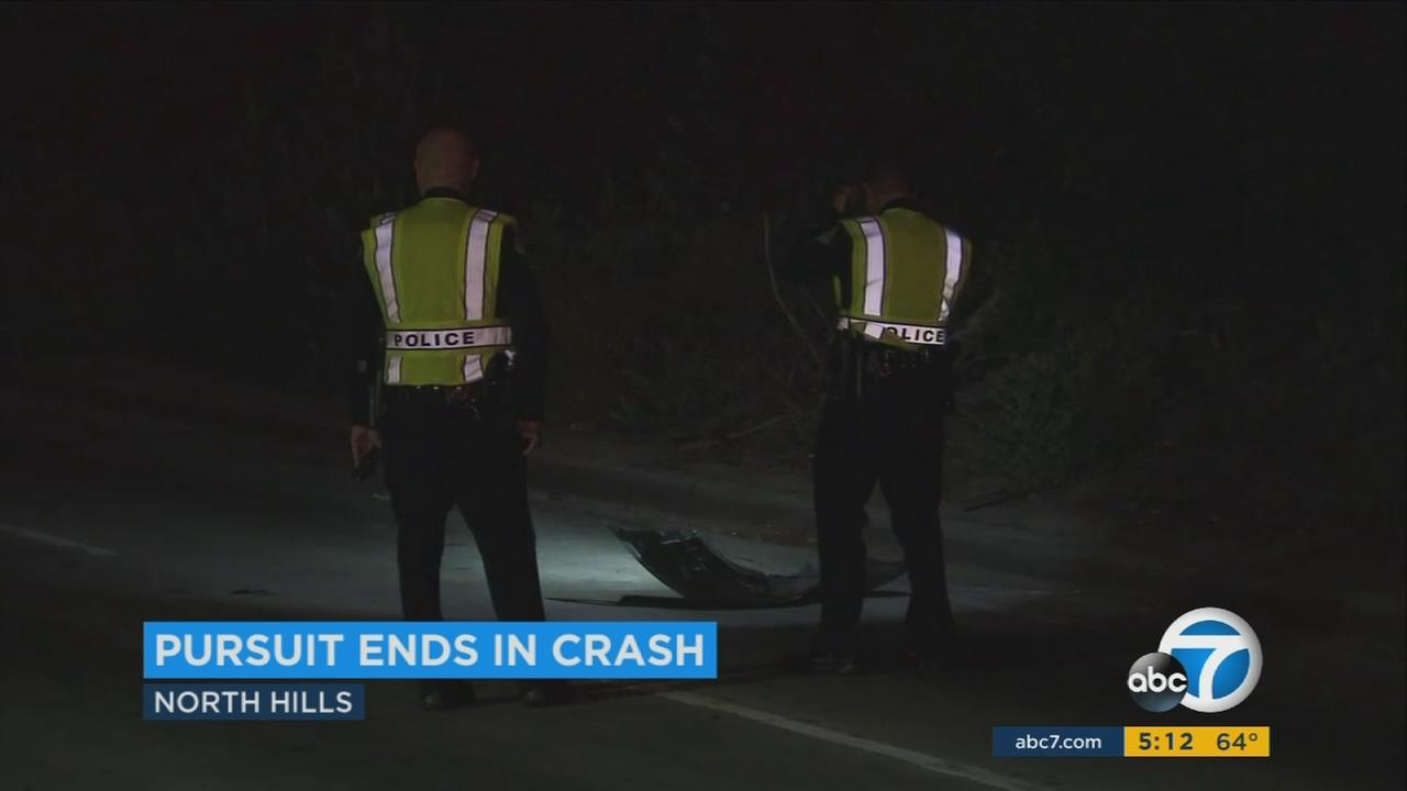 Police are looking for a suspect who crashed into several cars during a chase in North Hills Saturday night.