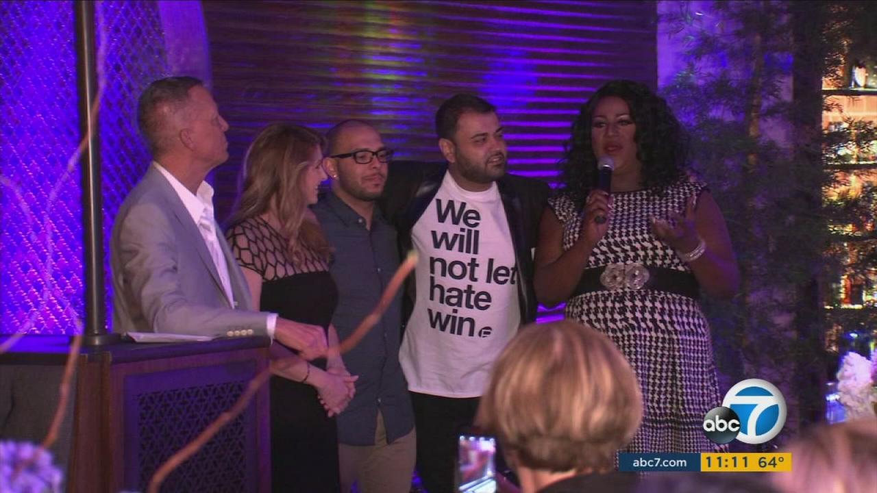 Organizers speak at a fundraiser held at the Abbey in West Hollywood on Monday, June 5, 2017, to benefit the victims of the Pulse nightclub shooting.