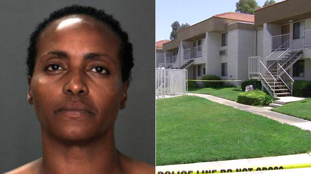 Nicole Darrington-Clark, 43, is seen in a booking photo after she allegedly stabbed three family members at a Colton apartment.