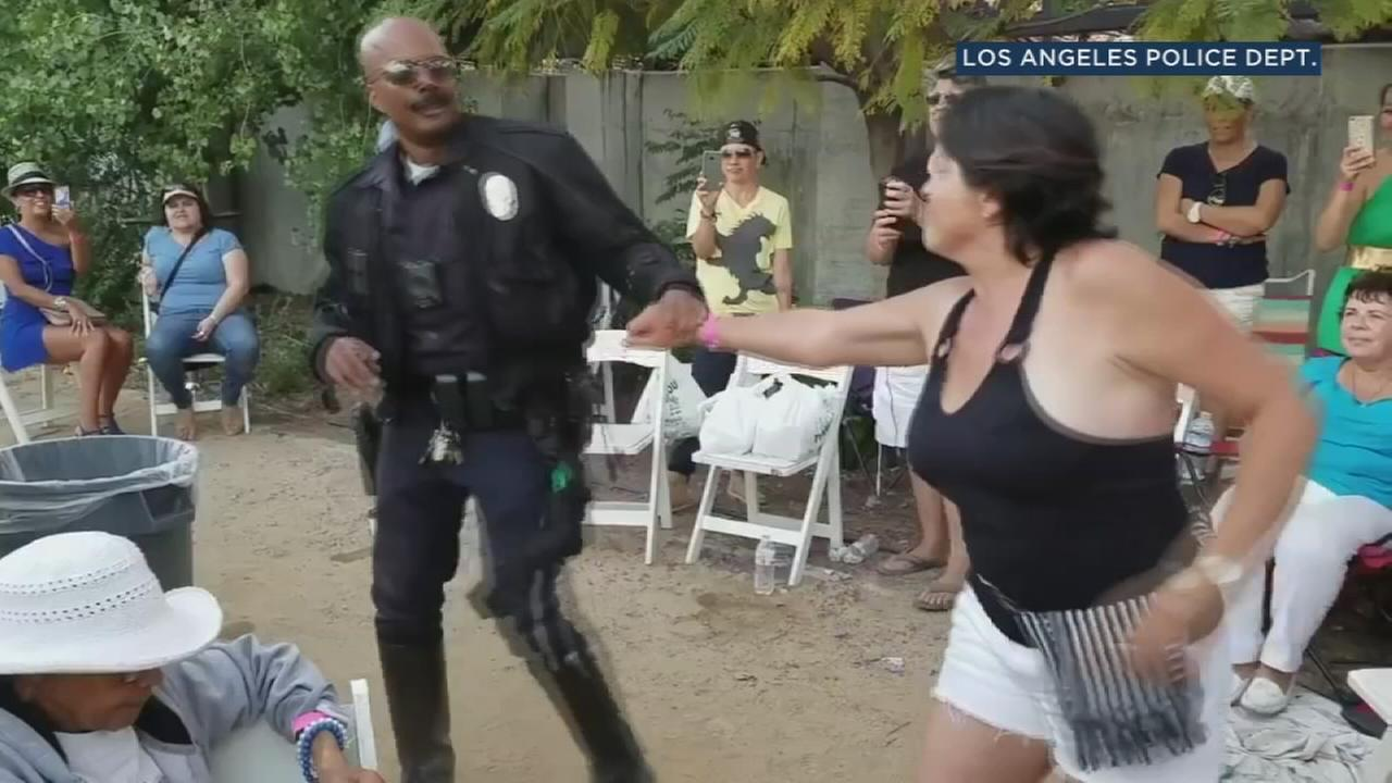 This Los Angeles Police Department motor officer really knows how to move on the dance floor.