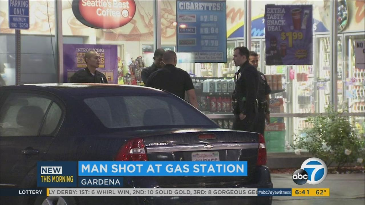 Man shot at Gardena gas station after being rear-ended by car