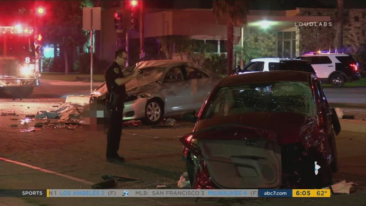 One person was killed and another was seriously injured in a three-car crash in Riverside on Thursday, June 8, 2017.
