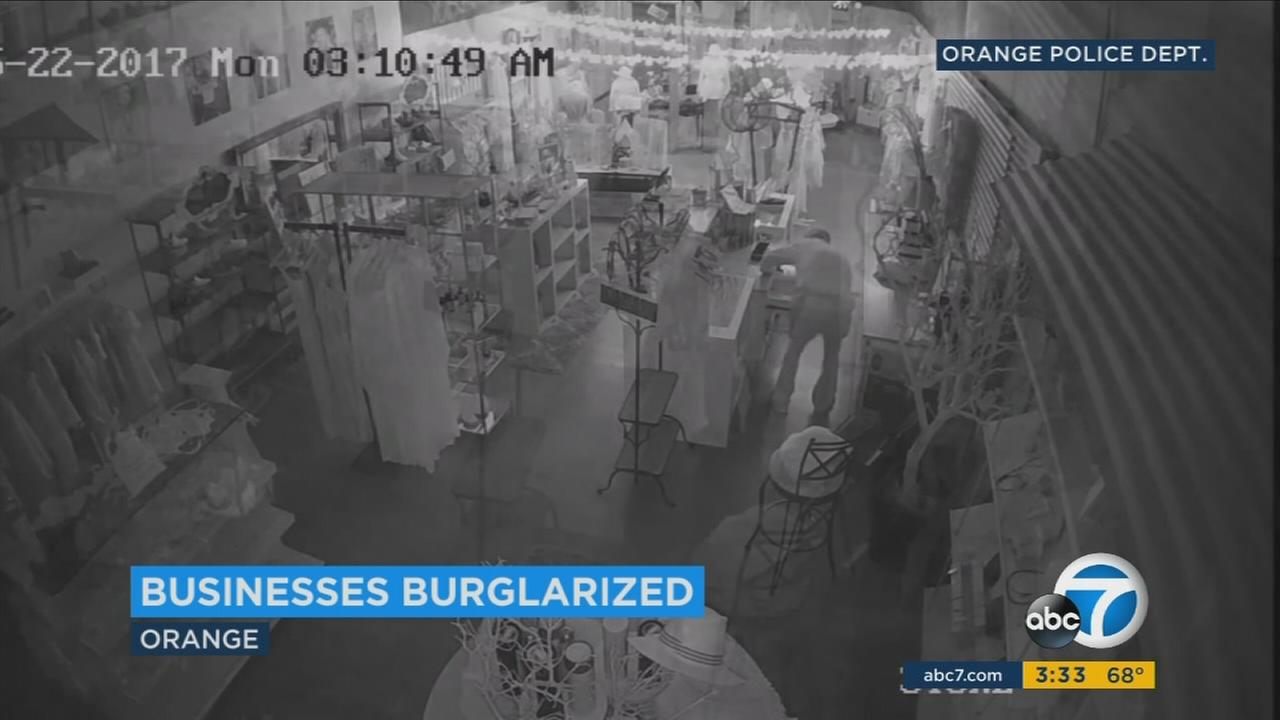 Surveillance footage shows a burglary at a business in Oranges Old Towne district.