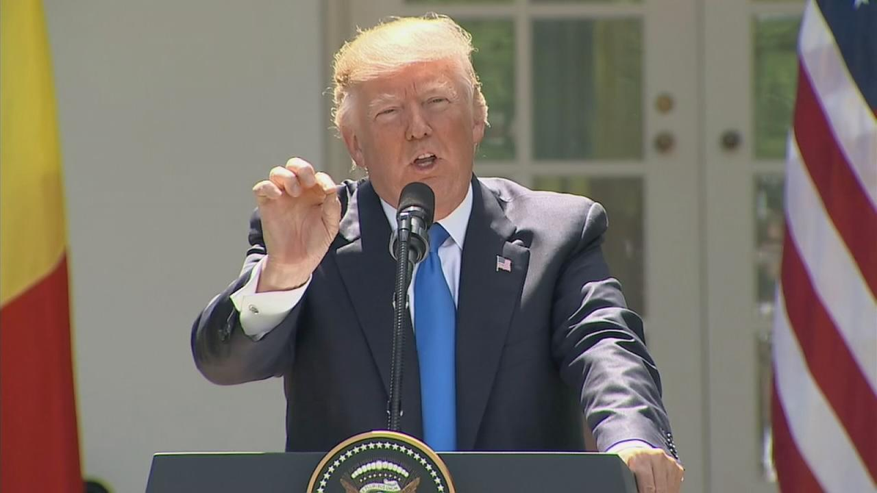 President Donald Trump speaks during a news conference in the Rose Garden at the White House, Friday, June 9, 2017, in Washington.