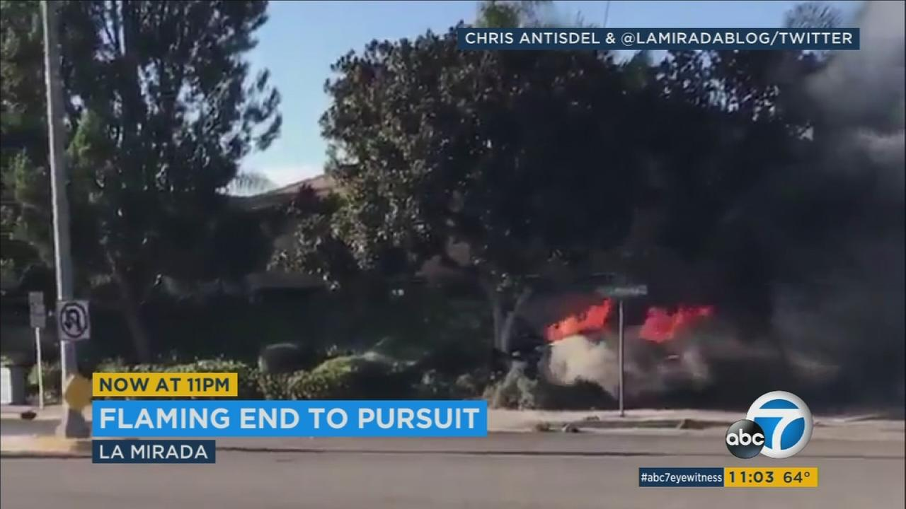 2 suspects seriously hurt after chase ends in fiery crash in La Mirada