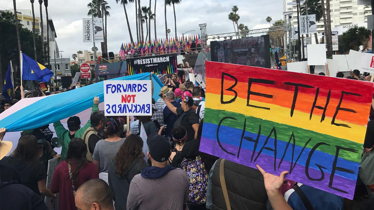 Thousands gathered at Hollywood and Highland for LA Prides Resist March on Sunday, June 11, 2017.KABC