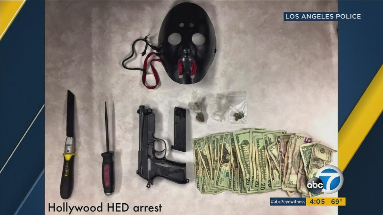 Items Los Angeles police said were found on a possible robbery suspect on Thursday, June 8, 2017.