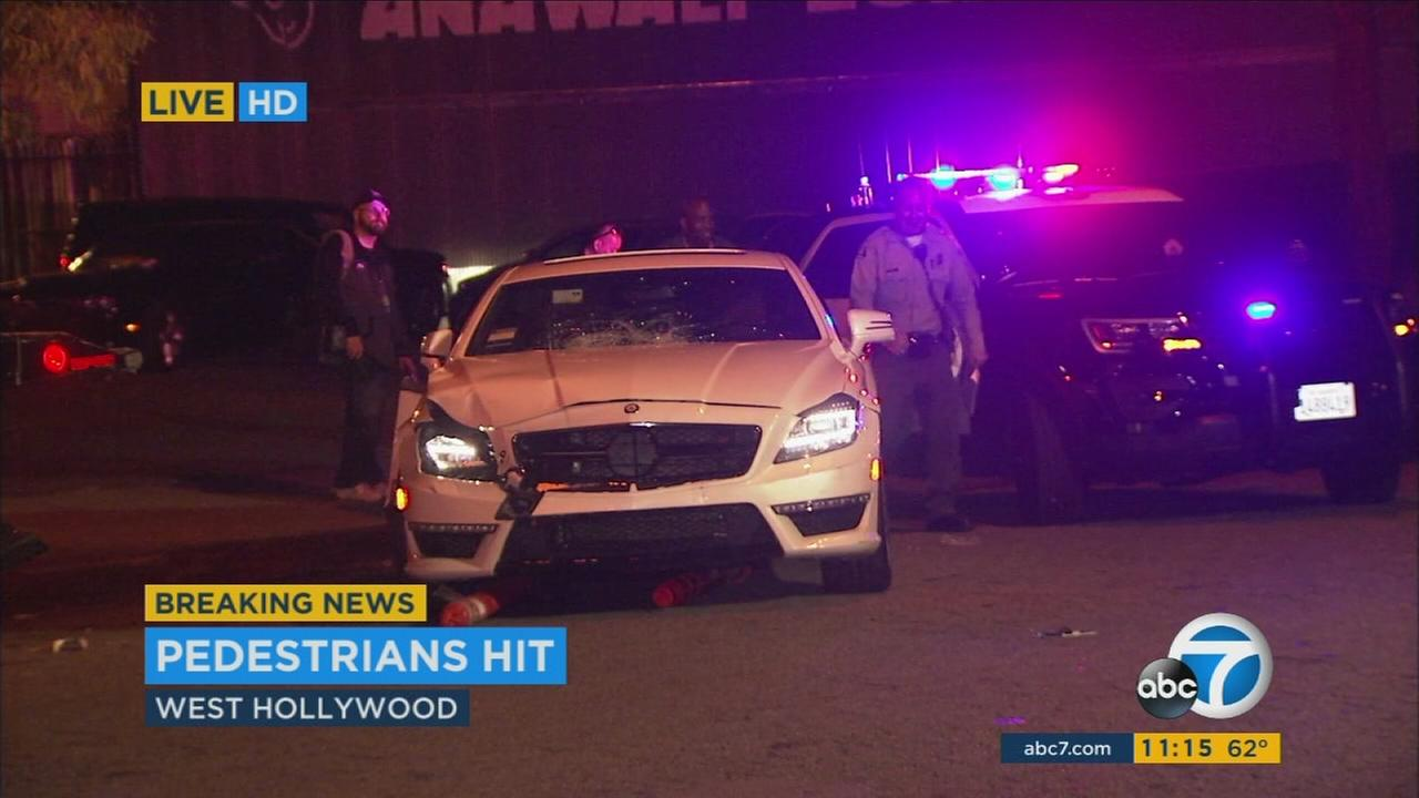 The scene of a crash in West Hollywood where three pedestrians were struck on Sunday, June 11, 2017.
