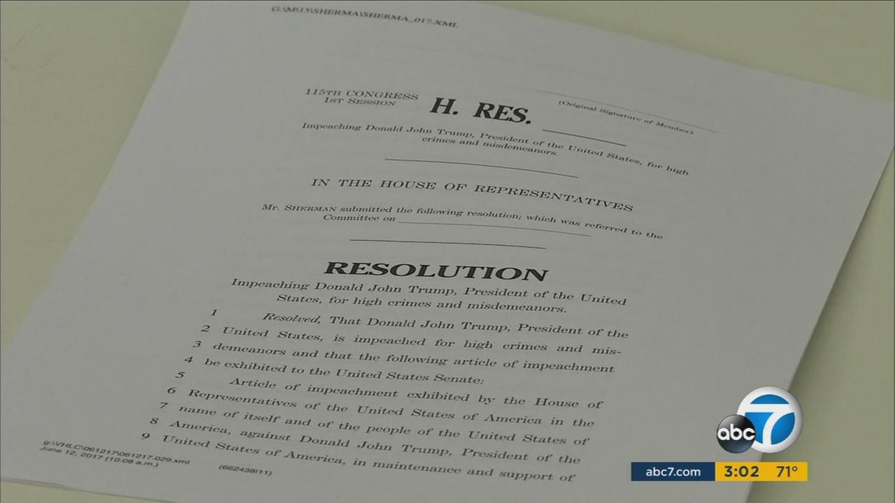 Congressman Brad Sherman, D-Sherman Oaks, has drawn up impeachment articles for President Donald Trump, saying he has obstructed justice in the Russia investigation.